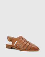Edgar Dark Cognac Leather Closed Toe Flat Sandal.
