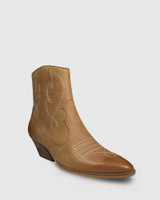 Keith Tan Leather Embroidered Western Style Ankle Boot.