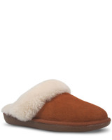 Cosy Tobacco Suede Shearling Lined Mule Slipper.