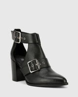 Holie Black Leather Buckle Boot Heel Boot.