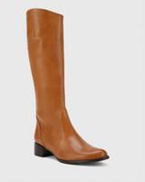 Bernia-N Tan Waxy Burnish Leather Long Boot Almond Toe.