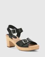 Kalika Black Leather Wooden Block Heel Sandal.