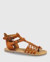 Capucina Tan Leather Flat Sandal.