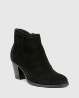 Kylar Black Suede Leather Round Toe Block Heel Ankle Boot.