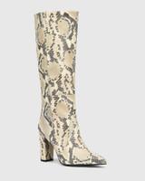 Handy Buttercream Anaconda Print Leather Long Boot