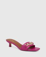Jacqueline Magenta Leather Chain Detail Kitten Heel