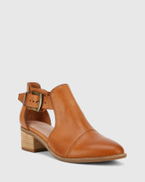 Isbal Coconut Scotch Leather Block Heel Buckle Ankle Boot.