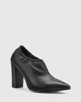 Hester Black Leather Elastic Topline Bootie