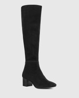 Aniya Black Suede Leather Round Toe Long Boot