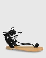 Finnigan Black Suede Tie Up Flat Sandal.