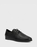 Cecelia Black Leather Low Wedge Lace Up Brogue.