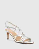 Nhalo Silver Leather Stiletto Heel Sandal.