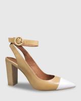 Helaine Natural Leather White Toe Cap Block Heel.