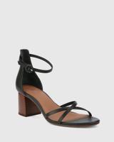 Nakita Black Leather Curve Heel Sandal.