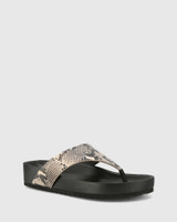 Erma Ecru Snake Print Leather Platform Thong Sandal.