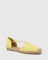 Elgin Sunshine Yellow Leather Espadrille Flat.