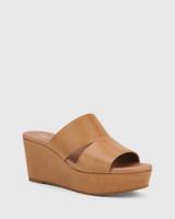 Henrico Tan Leather Open Toe Wedge Heel .