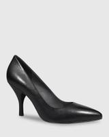 Julienne Black Leather Almond Toe Mid Heel.