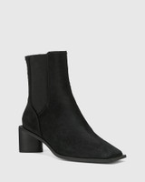 Yumi Black Leather Elastic Gusset Ankle Boot