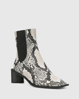 Yumi Natural Snake Print Leather Elastic Gusset Ankle Boot