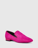 Yara Magenta Hair-on Leather Almond Toe Loafer