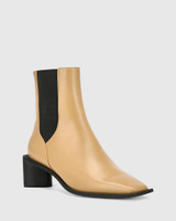 Yumi Camel Leather Elastic Gusset Ankle Boot