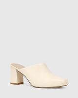 Yessica Cream Leather Block Heel Mule