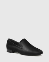 Yara Black Hair-on Leather Almond Toe Loafer