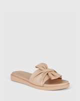 Reo Nude Leather Bow Slide.