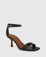Charmed Black Leather Dual Strap Sandal