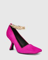 Xalt Magenta Hair-on Leather Chain Strap Heel