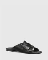 Caitlyn Black Croc-Embossed Leather Multi-Strap Slide