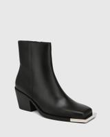 Marshall Black Leather Metal Hardware Ankle Boot