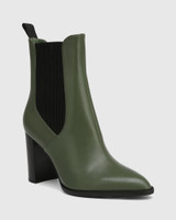 Holler Olive Green Leather Block Heel Ankle Boot