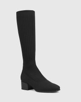Orion Black Recycled Knit Long Boot