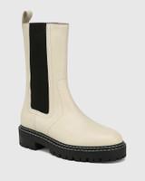 Mackay Eggshell White Leather Pull-on Combat Boot