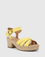 Maldives Sunshine Yellow Leather Open Toe Espadrille Sandal.