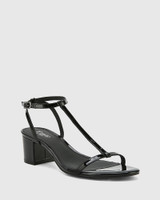 Inara Black Patent Leather Open Toe Block Heel Sandal.