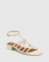 Beckie Buttercream Leather Open Toe Block Heel Flat Sandal.