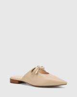 Magdalena Ecru Leather Pointed Toe Slip On Flat.