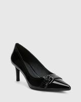 Downton Black Patent Leather Buckle Stiletto Heel.