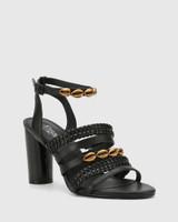 Rochella Black Nappa Leather Block Heel Sandal.