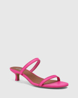 Jay Hot Fuchsia Leather Low Stiletto Sandal.