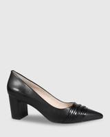 Darlin Black Leather Block Heel.