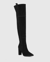 Hansina Black Suede Leather Over The Knee Boot