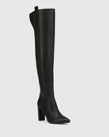 Hansina Black Leather Over The Knee Boot