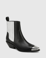 Moodie Black Leather Toe Cap Ankle Boot