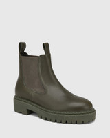 Madi Military Green Leather Combat Boot