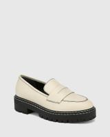 Madyson Eggshell White Leather Utility Loafer