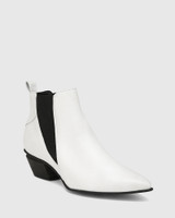 Starr White Leather Western Chelsea Boot